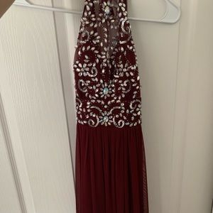 floor length burgundy beaded dress